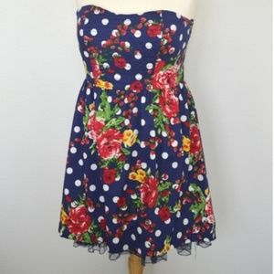 Torrid 3X Strapless Polka Dot Floral Tulle Dress